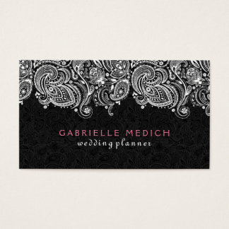 White On Black Floral Paisley Lace Business Card