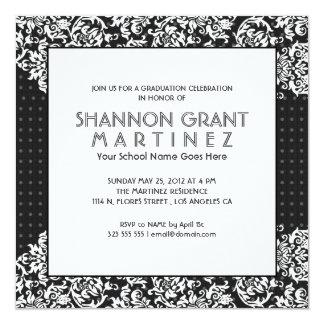 White On Black Flowers-Elegant Grad Invite