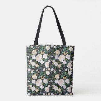 White On Black Garden Midnight Floral Tote Bag