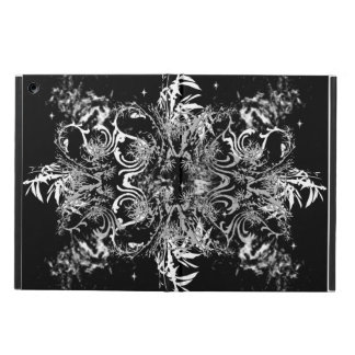 White on Black Leaves and Swirls iPad Air Covers