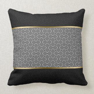 White On Black Modern Geometric Pattern Throw Pillow