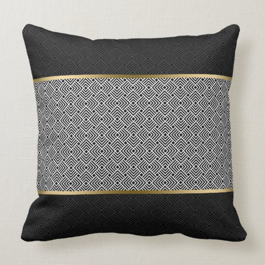 White On Black Modern Geometric Pattern Throw Pillow