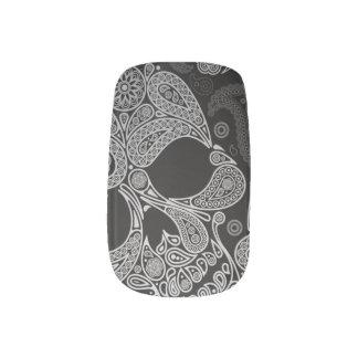 White On Black Paisley Skull Minx Nail Art
