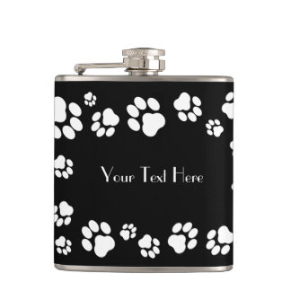 White-on-Black Pawprint Customizable Hip Flask