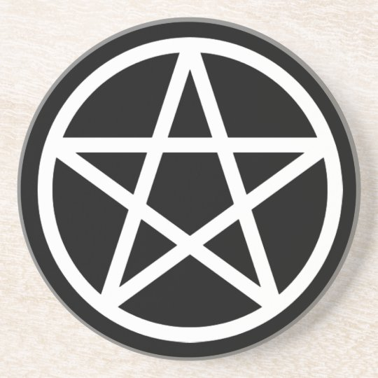 White on Black Pentacle Drink Coaster
