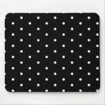 White on Black Polka Dots Mouse Pad