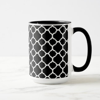 White on Black Quatrefoil Mug