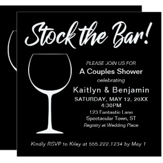 White on Black Stock the Bar Script Couples Shower Card