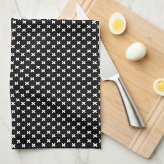 White on Black Tiny Xs Patterned Towel