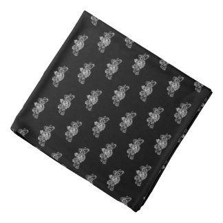 White On Black Tuxedo Lion Emblem Lapel Pocket Bandana