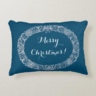 White on Blue Christmas Wreath to Customize Decorative Pillow