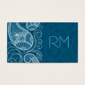 White On Blue Retro Paisley Pattern Design Business Card
