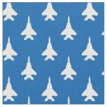 White on Blue Strike Eagle Fighter Jet Pattern Fabric