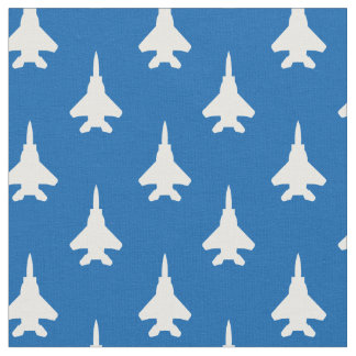 White on Blue Strike Eagle Fighter Jet Pattern Fabric