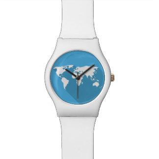 white on blue world wrist watches