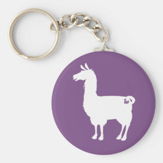 White On Colour Llama Keychain
