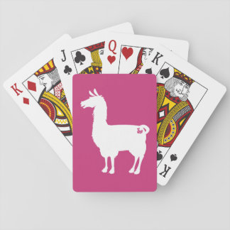 White On Colour Llama Playing Cards