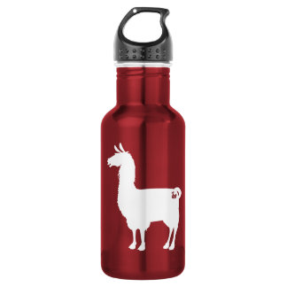 White On Colour Llama Water Bottle