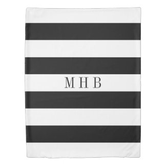 White on Custom Color Stripe Monogram Black Duvet Cover