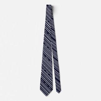 """White-on-Customizable Paw Print Stripe """"Meow"""" Tie"""