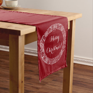 White on Deep Red Christmas Wreath to Customize Short Table Runner