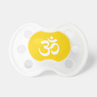 White on Gold Om Symbol Pacifier