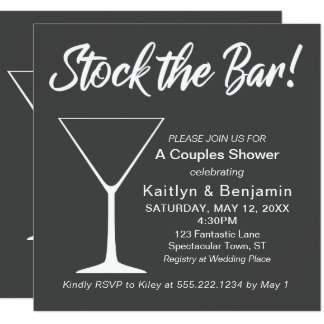 White on Gray Stock the Bar Script Couples Shower Card