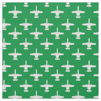 White on Green A-10 Warthog Attack Jet Pattern Fabric