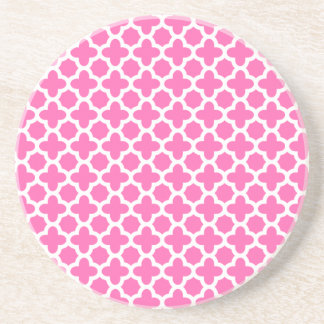 White on Hot Pink Quatrefoil Pattern Coaster