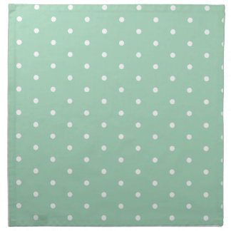 White on Mint Polka Dots Cloth Napkins