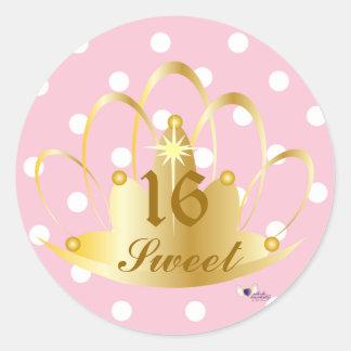 White On Pink Polka Dots, Sweet, 16 Sticker-Cust. Classic Round Sticker