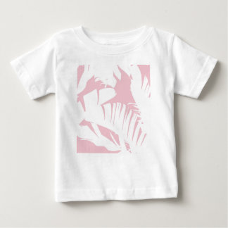 White on Pink Tropical Banana Leaves Pattern Baby T-Shirt