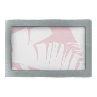 White on Pink Tropical Banana Leaves Pattern Belt Buckle