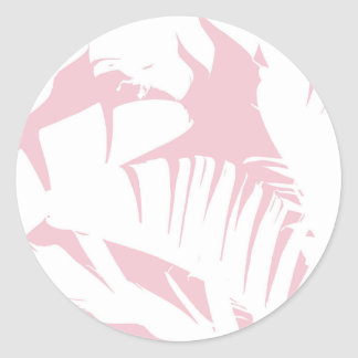 White on Pink Tropical Banana Leaves Pattern Classic Round Sticker