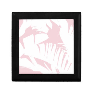 White on Pink Tropical Banana Leaves Pattern Gift Box