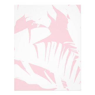 White on Pink Tropical Banana Leaves Pattern Letterhead