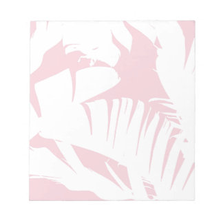 White on Pink Tropical Banana Leaves Pattern Notepads