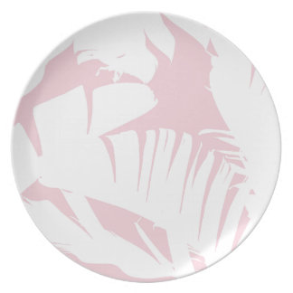 White on Pink Tropical Banana Leaves Pattern Plate