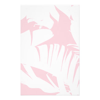 White on Pink Tropical Banana Leaves Pattern Stationery