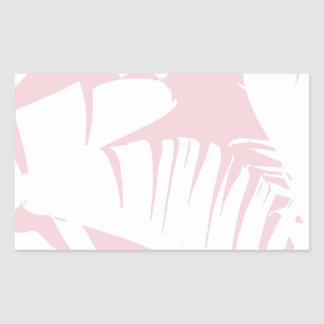 White on Pink Tropical Banana Leaves Pattern Sticker