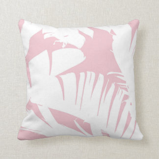 White on Pink Tropical Banana Leaves Pattern Throw Pillow