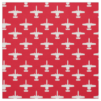 White on Red A-10 Warthog Attack Jet Pattern Fabric
