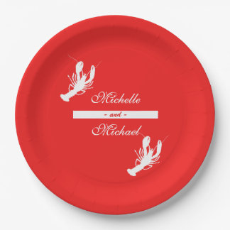 White on Red Crawfish Boil Event Plates
