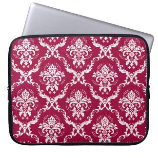 White on Red Damask Pattern Laptop Sleeve