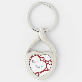 White on Red Hearts Pattern Heart-shaped Keychain