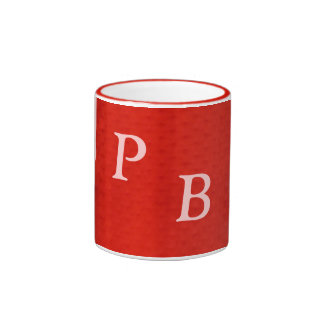 White On Red Monogram Ringer Coffee Mug