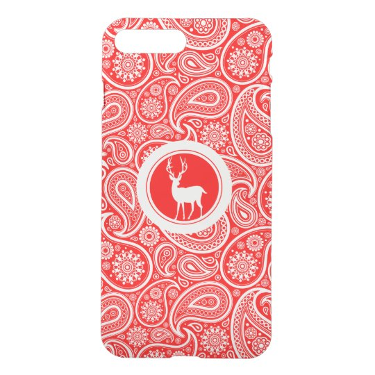 White On Red Paisley Pattern White Deer iPhone 8 Plus/7 Plus Case