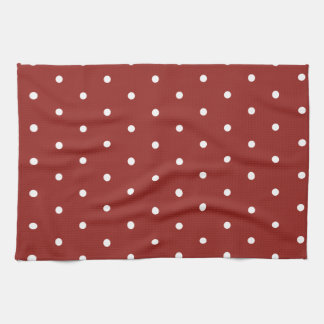 White on Red Polka Dots Kitchen Towel