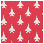 White on Red Strike Eagle Fighter Jet Pattern Fabric