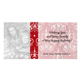 white on red swirl chandelier heart damask photo card